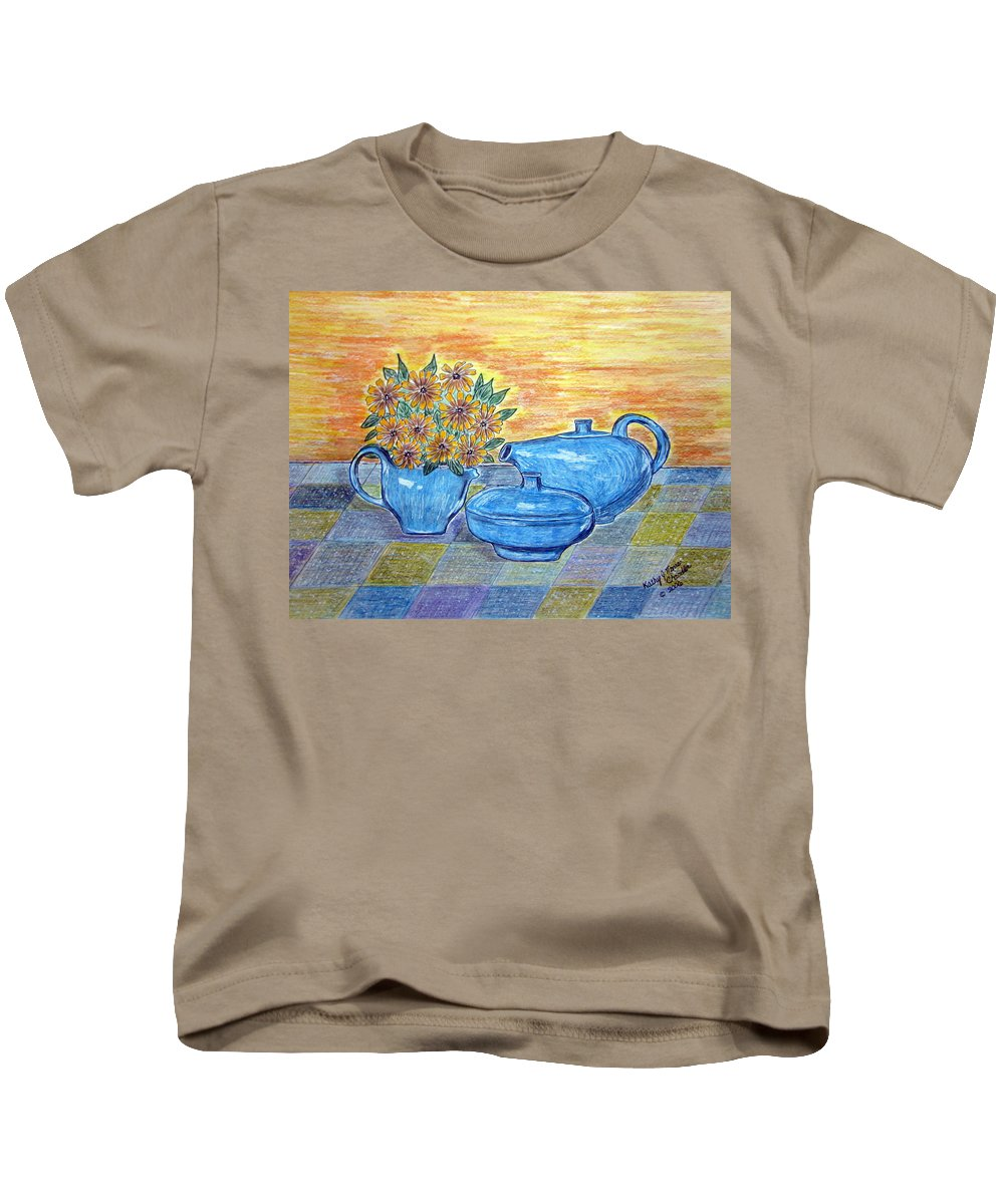 Russell Wright China Kids T-Shirt featuring the painting Russel Wright China by Kathy Marrs Chandler