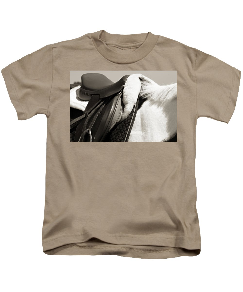 Horse Kids T-Shirt featuring the photograph Saddle And Softness by Marilyn Hunt