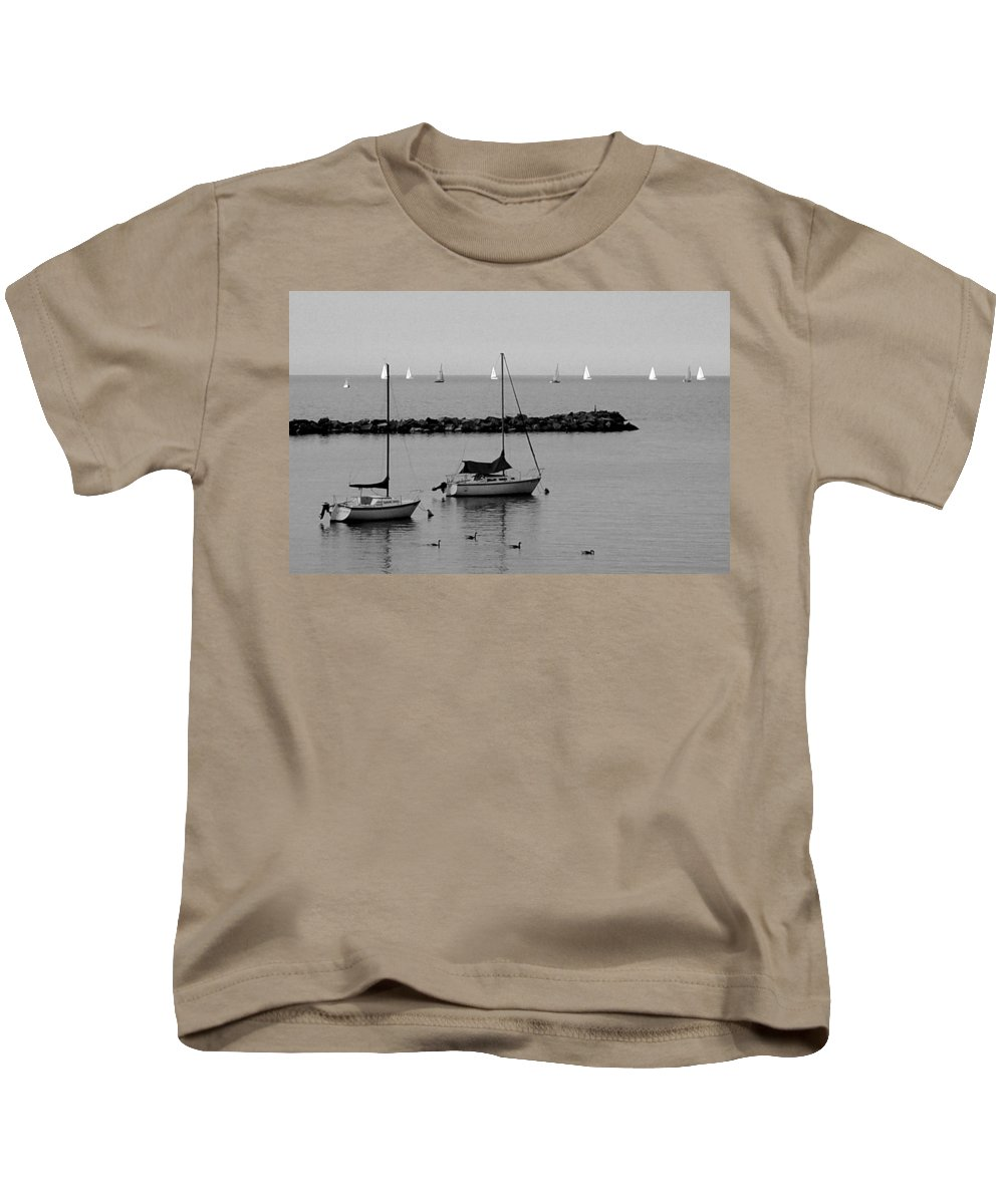 Sailboats Kids T-Shirt featuring the photograph Sailboats And Ducks B-w by Anita Burgermeister