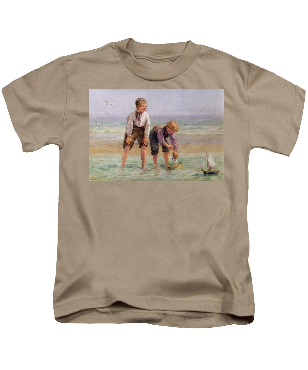 Sailing Kids T-Shirt featuring the painting Sailing Boats by Edith Hume