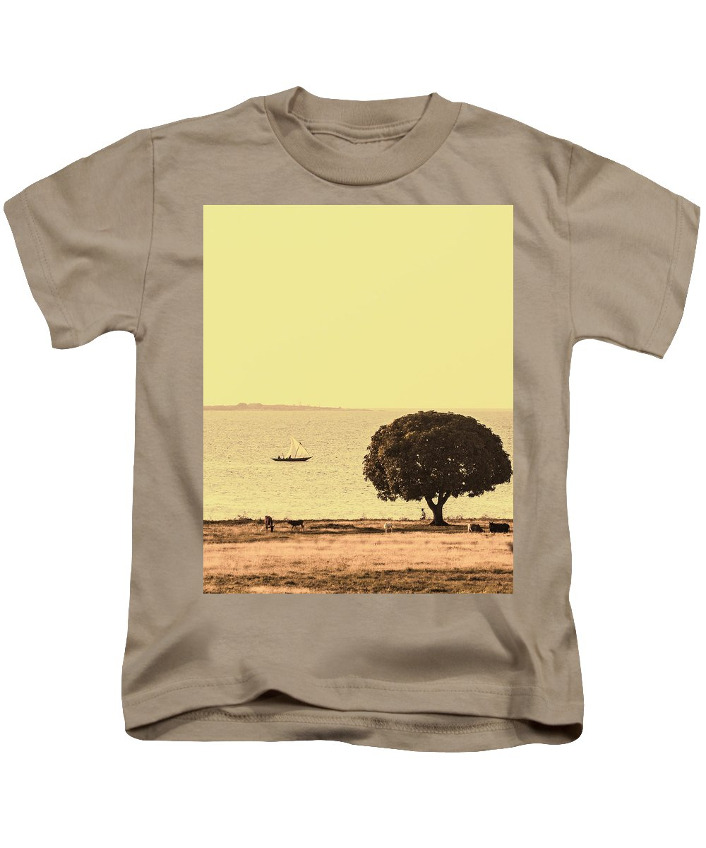 Mwanza Kids T-Shirt featuring the photograph Sailing By by Patrick Kain