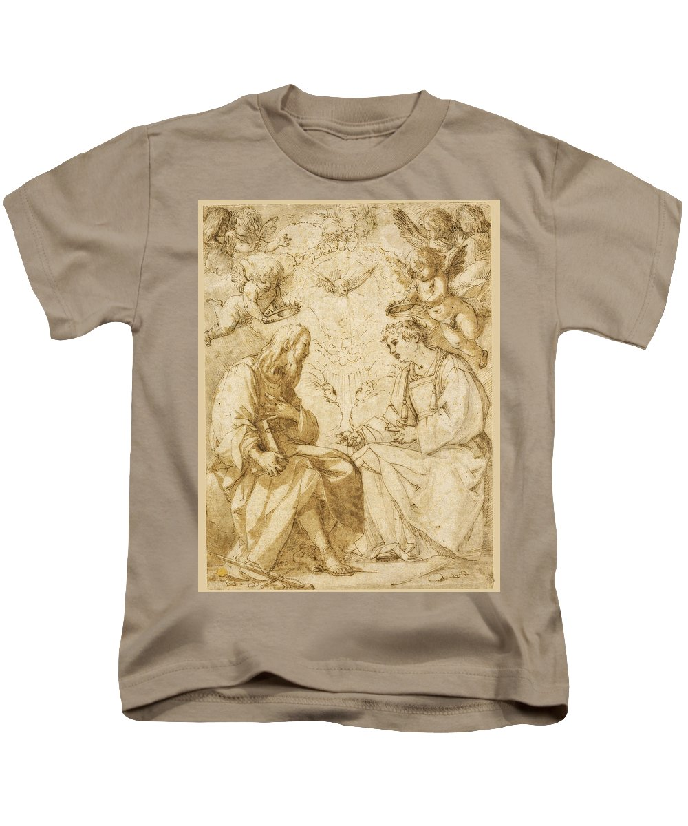 Giovanni Baglione Kids T-Shirt featuring the drawing Saint Paul And Saint Stephen Crowned By Angels by Giovanni Baglione