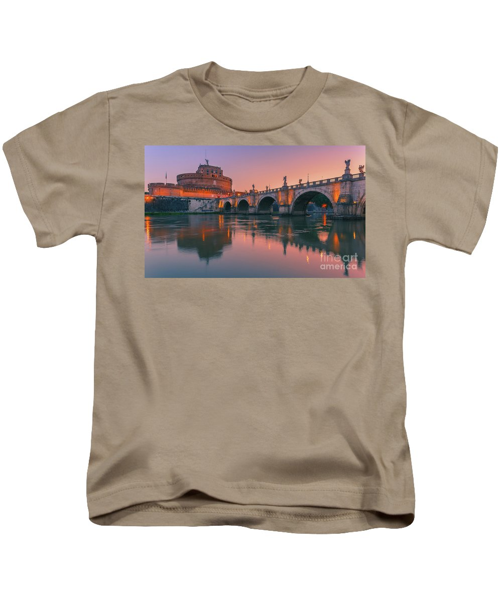 Monument Kids T-Shirt featuring the photograph San Angelo Bridge And Castel Sant Angelo by Henk Meijer Photography