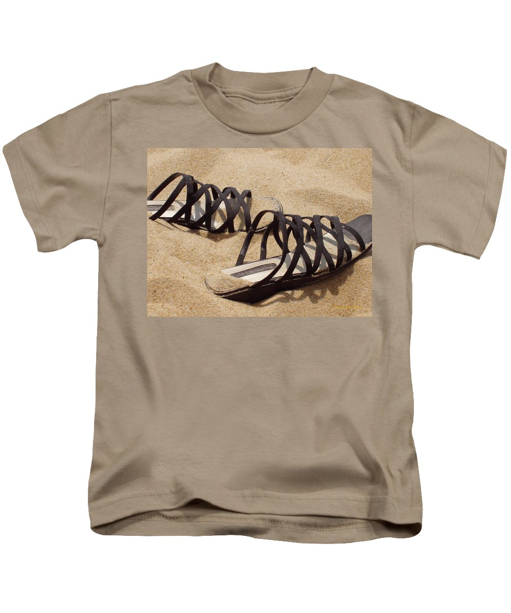 Shoes Kids T-Shirt featuring the photograph Sand Shoes I by Deborah Crew-Johnson