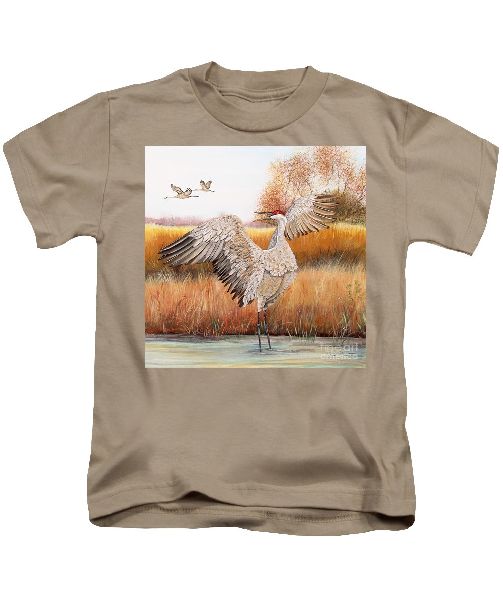 Jean Plout Kids T-Shirt featuring the painting Sandhill Cranes-jp3163 by Jean Plout