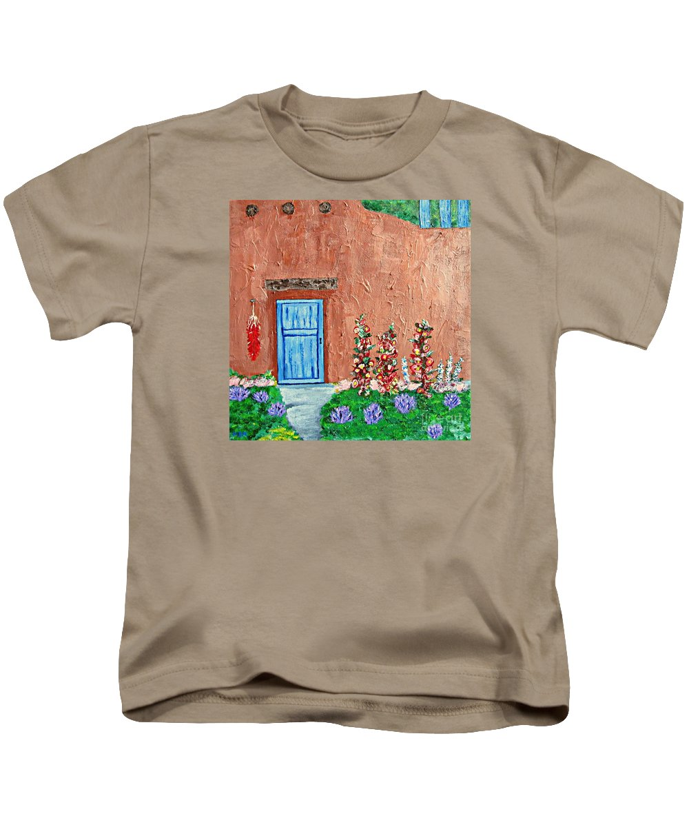 Adobe Home Kids T-Shirt featuring the painting Santa Fe Adobe by Mary Mirabal