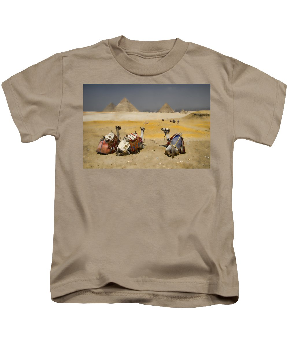 Egypt Kids T-Shirt featuring the photograph Scenic View Of The Giza Pyramids With Sitting Camels by David Smith