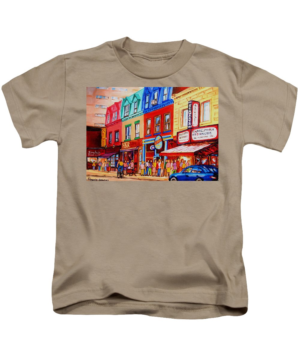 Cityscape Kids T-Shirt featuring the painting Schwartz Lineup With Simcha by Carole Spandau