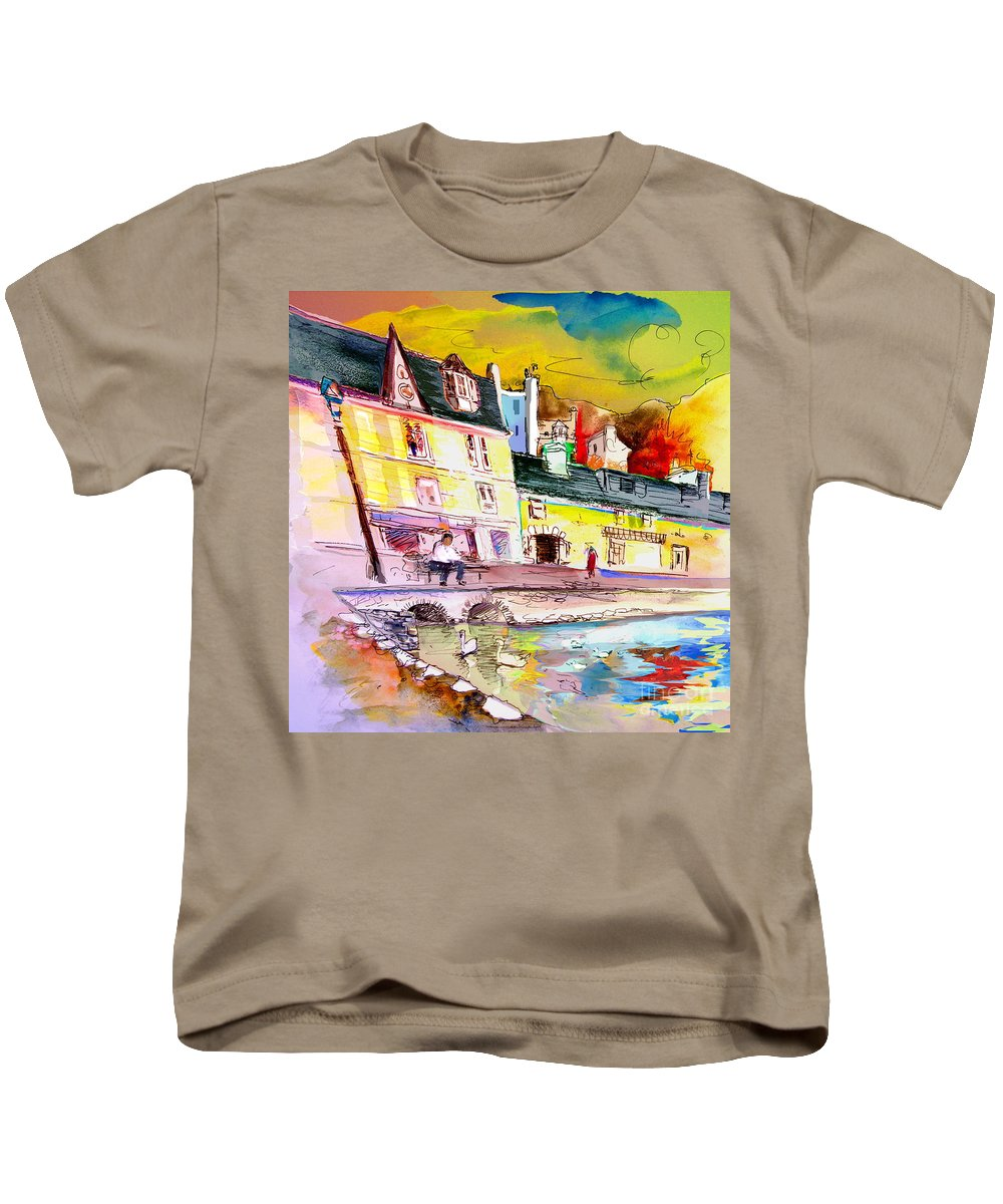 Scotland Paintings Kids T-Shirt featuring the painting Scotland 04 by Miki De Goodaboom