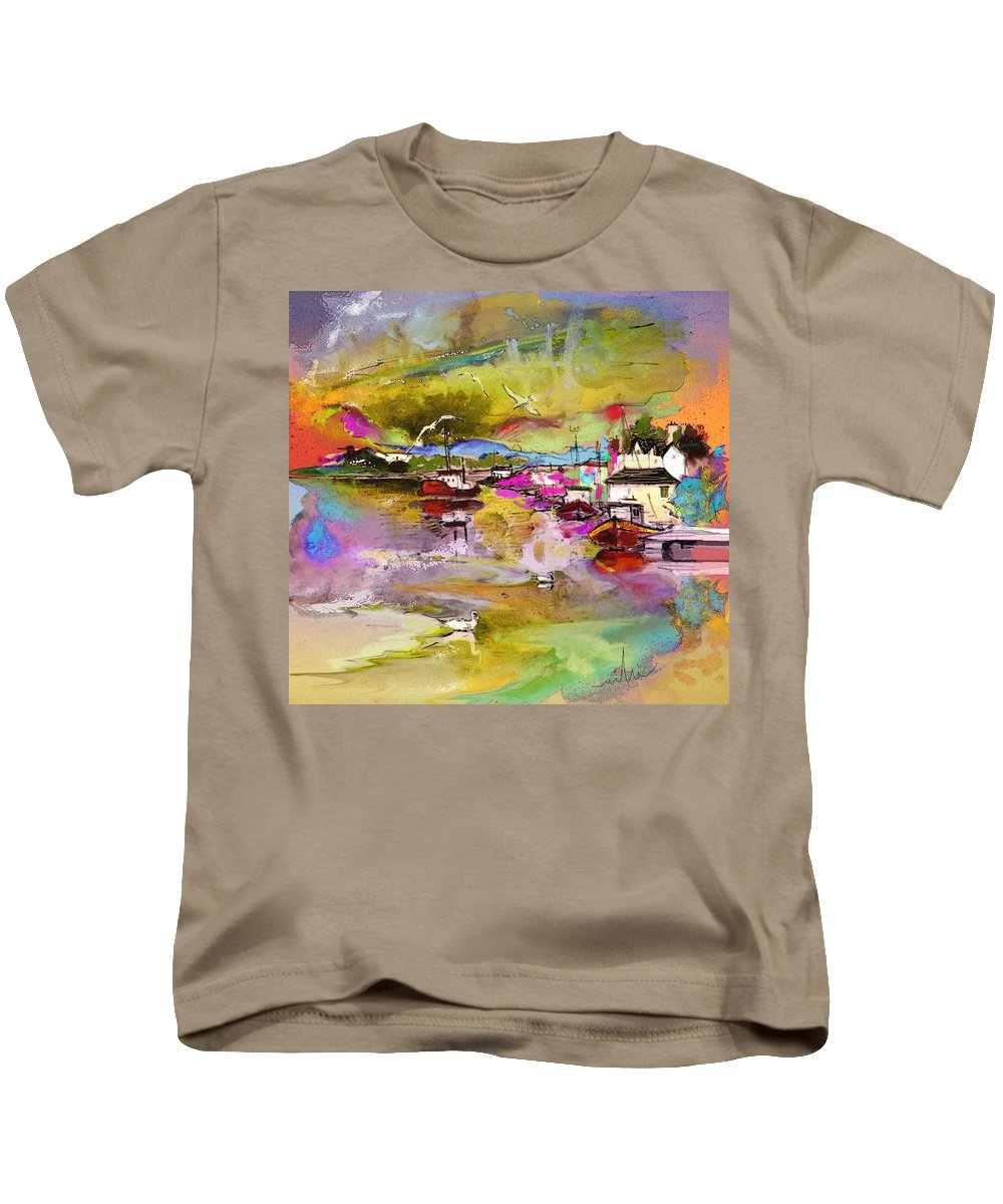 Scotland Paintings Kids T-Shirt featuring the painting Scotland 13 by Miki De Goodaboom