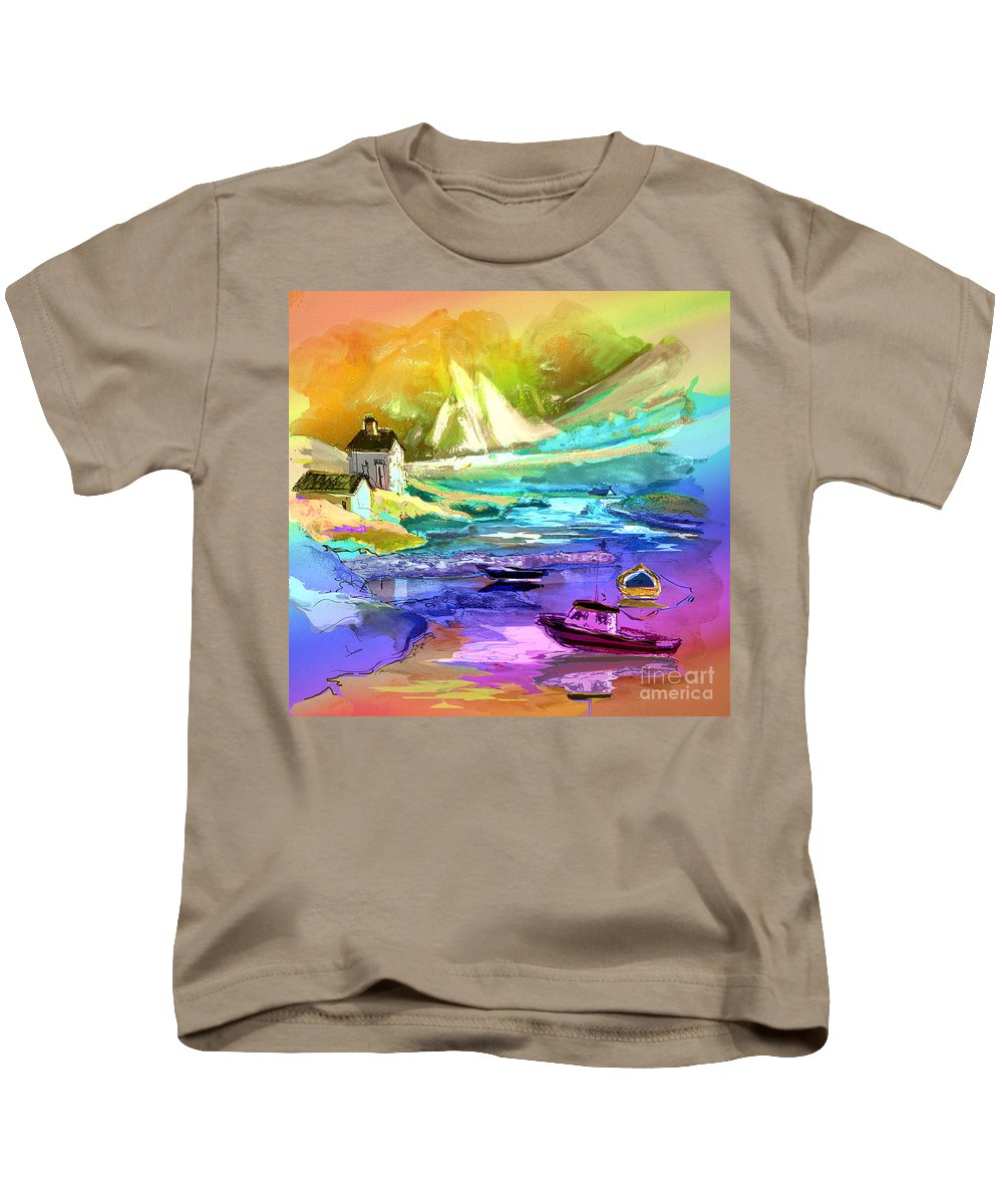 Scotland Paintings Kids T-Shirt featuring the painting Scotland 15 by Miki De Goodaboom