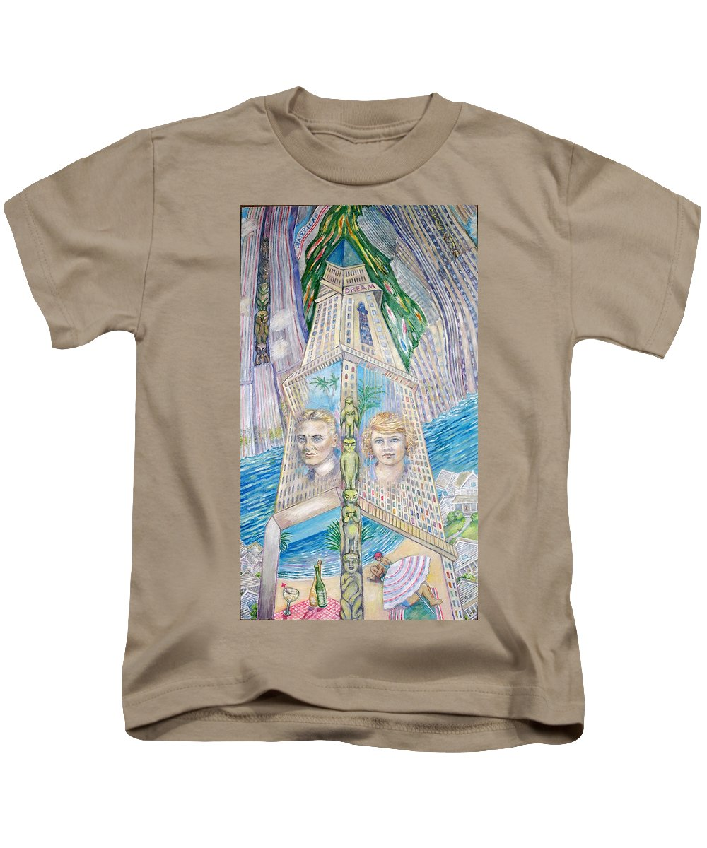 New York Fantasy Kids T-Shirt featuring the painting Scott And Zelda In Their New York Dream Tower by Patricia Buckley