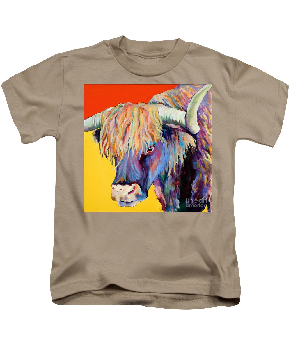 Farm Animal Kids T-Shirt featuring the painting Scotty by Pat Saunders-White