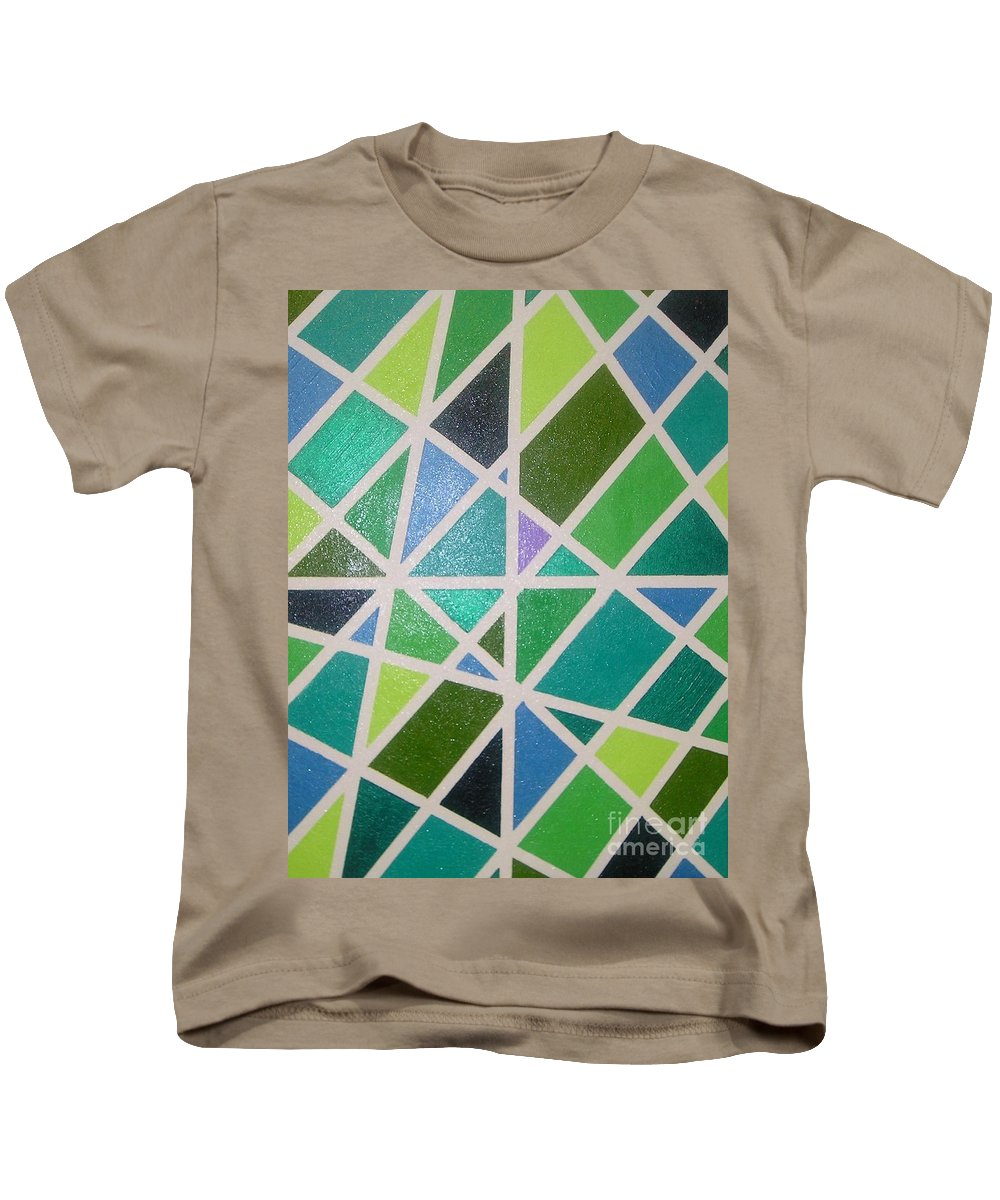 Green Kids T-Shirt featuring the painting Sea Glass Revisited by Maria Bonnier-Perez