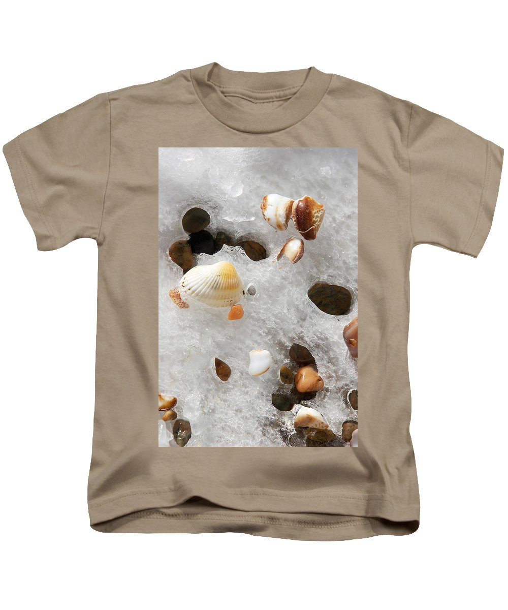 Sea Shells Kids T-Shirt featuring the photograph Sea Shells Rocks And Ice by Matt Suess