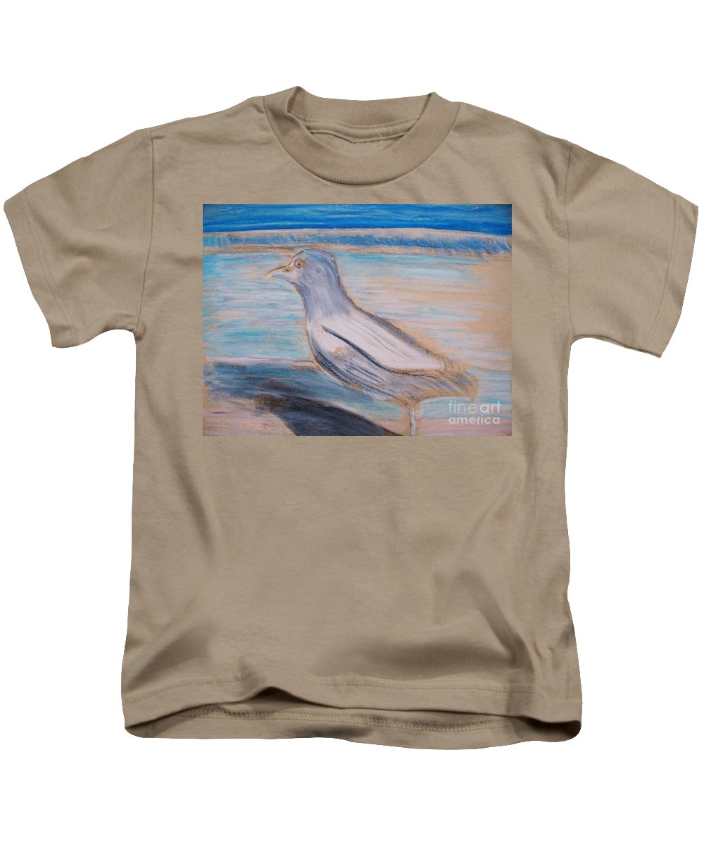Seagull Kids T-Shirt featuring the painting Seagull On Seashore by Eric Schiabor
