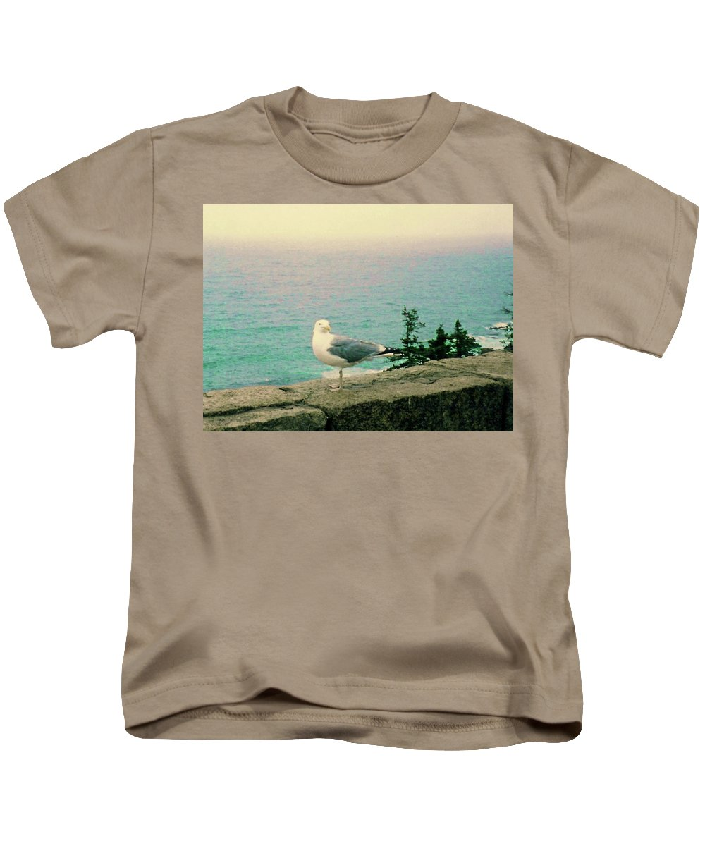 Seagull Kids T-Shirt featuring the photograph Seagull On Stone Wall by Desiree Paquette