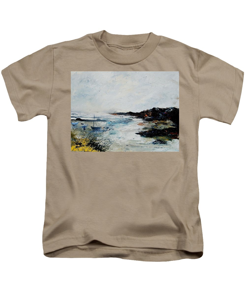Sea Kids T-Shirt featuring the painting Seascape 68 by Pol Ledent