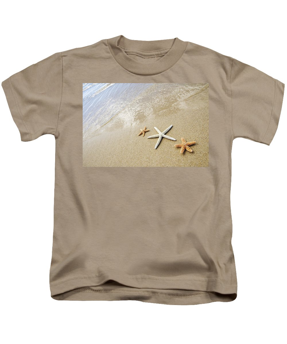 Afternoon Kids T-Shirt featuring the photograph Seastars On Beach by Mary Van de Ven - Printscapes