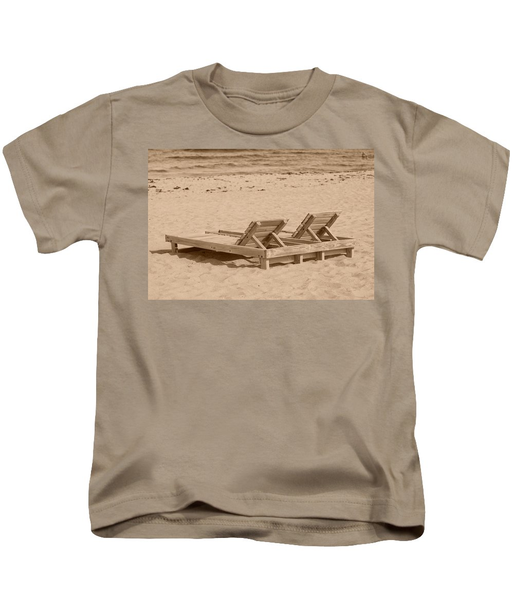 Chez Lounge Kids T-Shirt featuring the photograph Sepia Chairs by Rob Hans