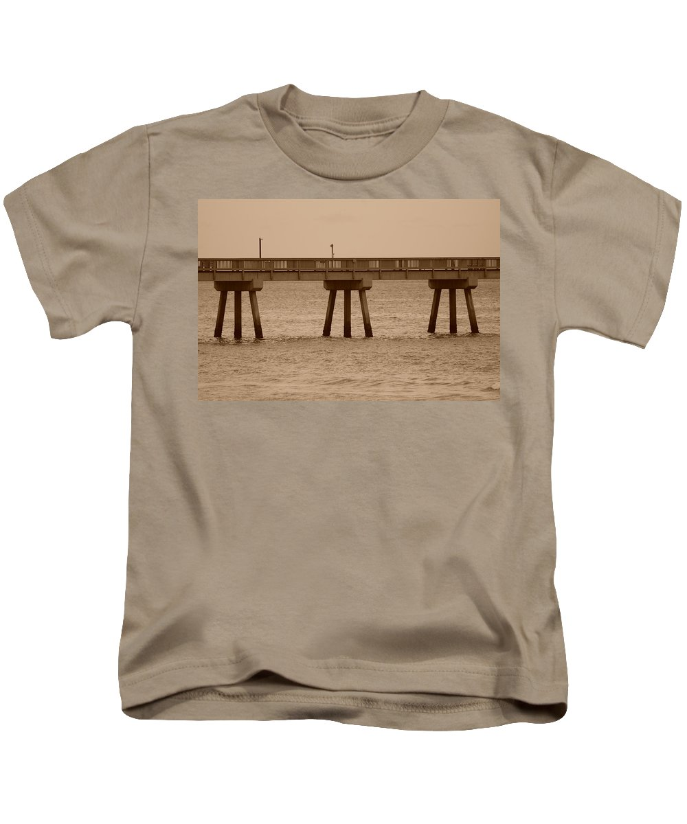 Sepia Kids T-Shirt featuring the photograph Sepia Pier by Rob Hans