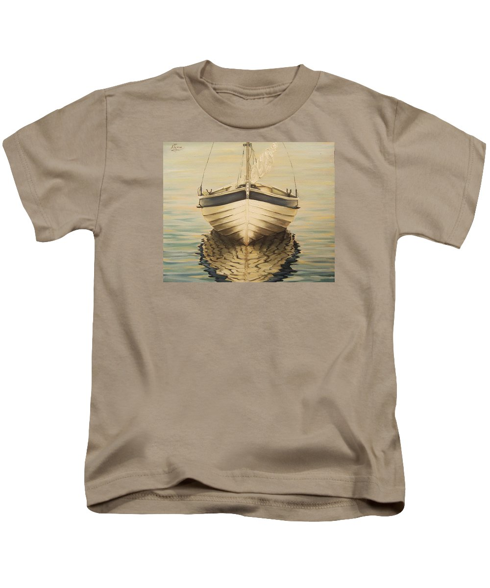 Seascape Kids T-Shirt featuring the painting Serenity by Natalia Tejera