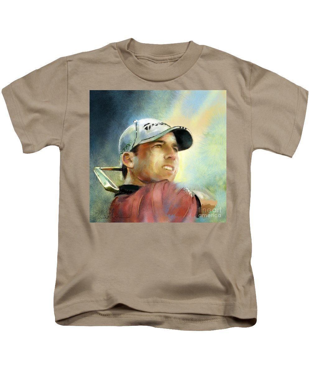 Golf Painting Golfart Castello Masters Spian Sport Kids T-Shirt featuring the painting Sergio Garcia In The Castello Masters by Miki De Goodaboom