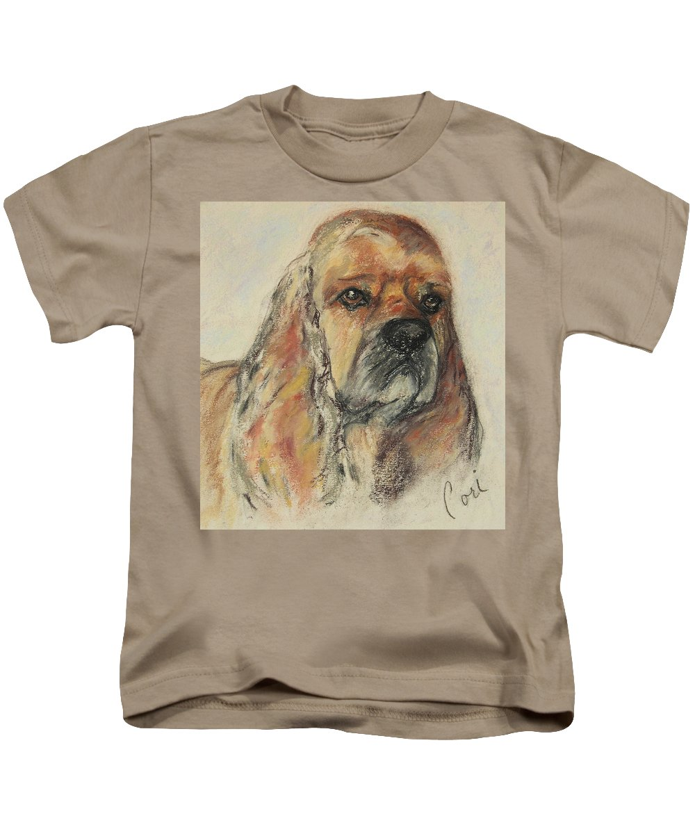 Dog Kids T-Shirt featuring the drawing Serious Intent by Cori Solomon