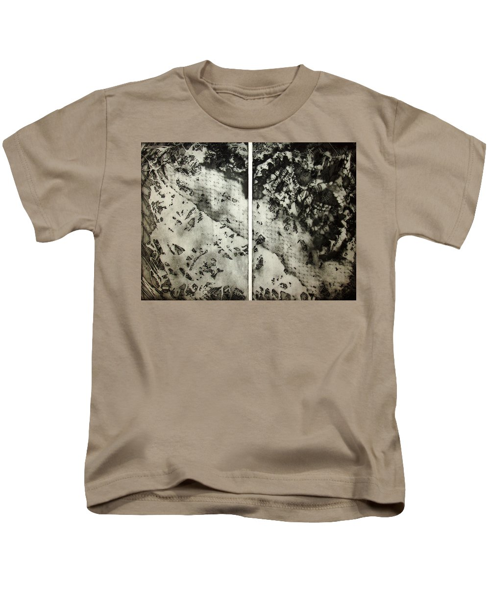 Etching Kids T-Shirt featuring the drawing Shadows And Lace by Nancy Mueller