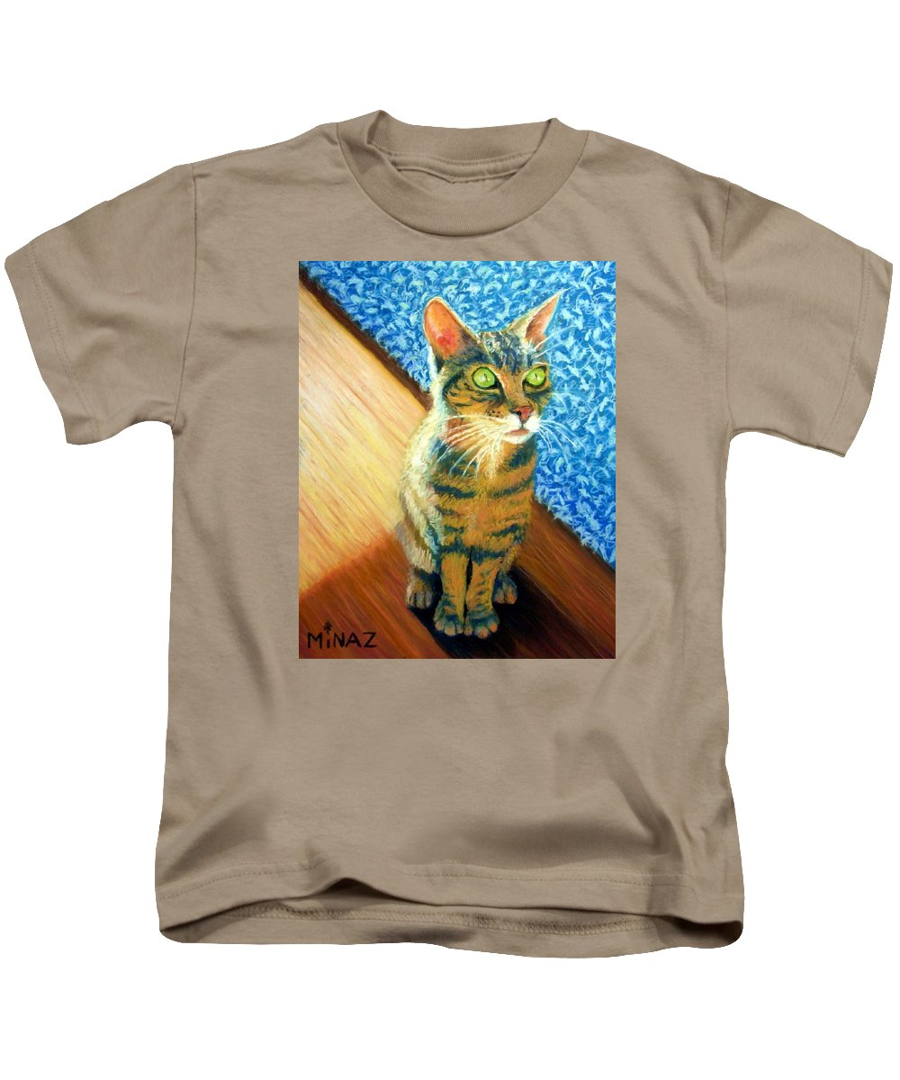 Cat Kids T-Shirt featuring the painting She Wants To Be Famous by Minaz Jantz