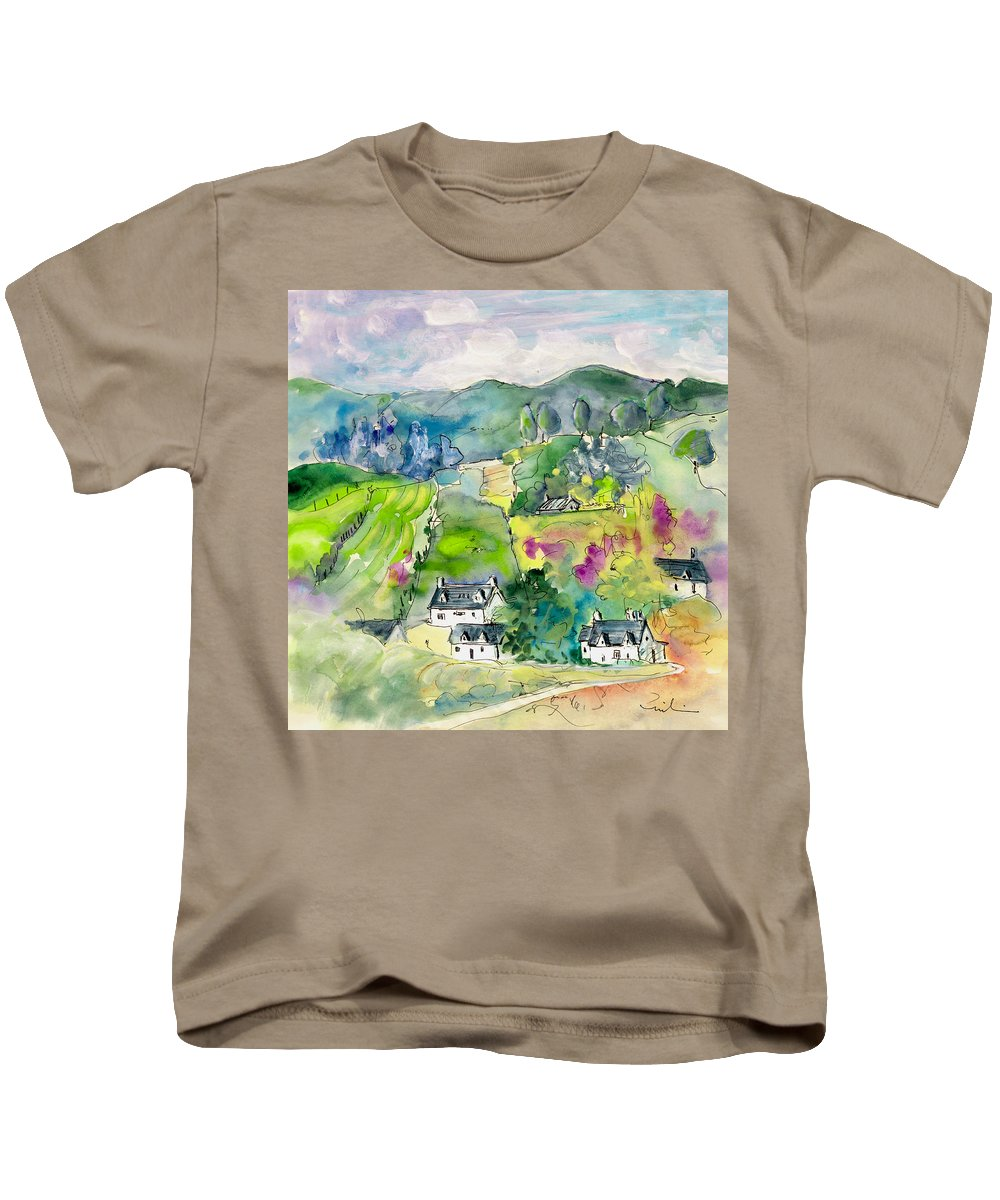 Travel Kids T-Shirt featuring the painting Shieldaig In Scotland 06 by Miki De Goodaboom