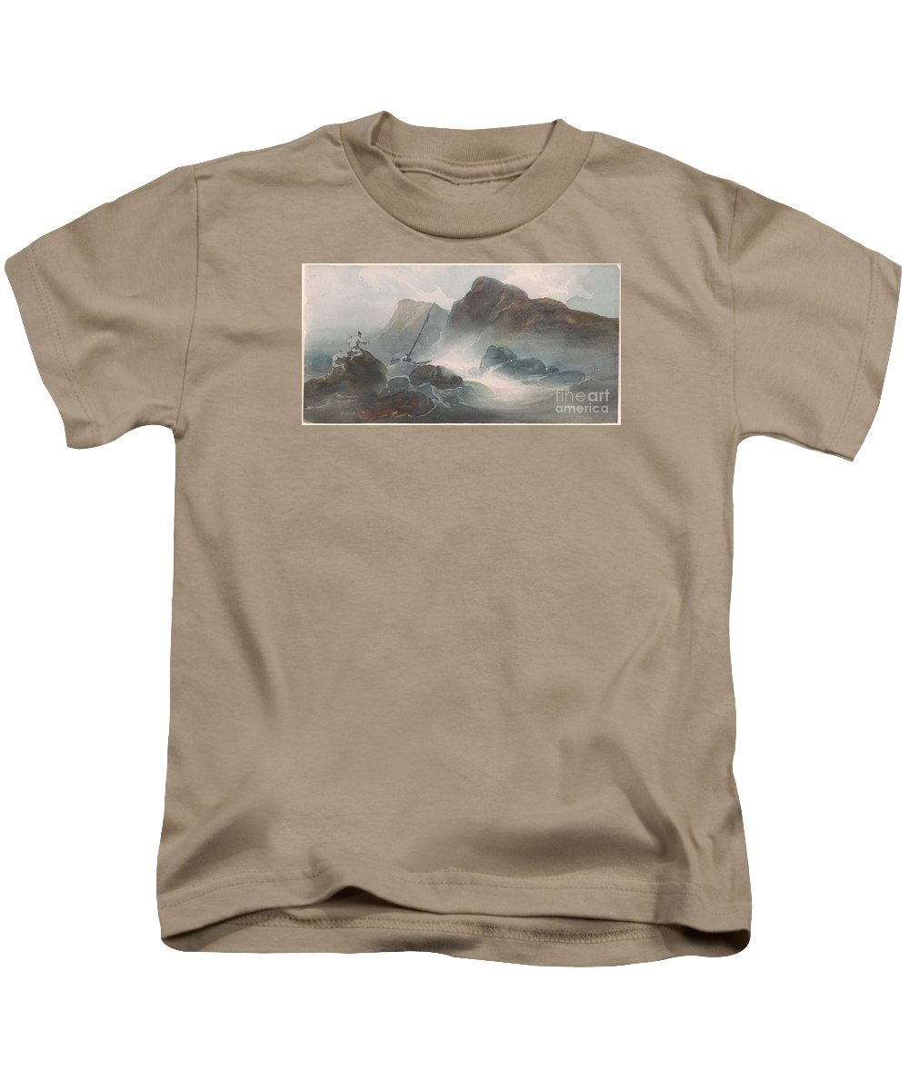 George Chinnery 1774-1852 Shipwreck Off A Rocky Coast. Dark Evening Kids T-Shirt featuring the painting Shipwreck Off A Rocky Coast by MotionAge Designs