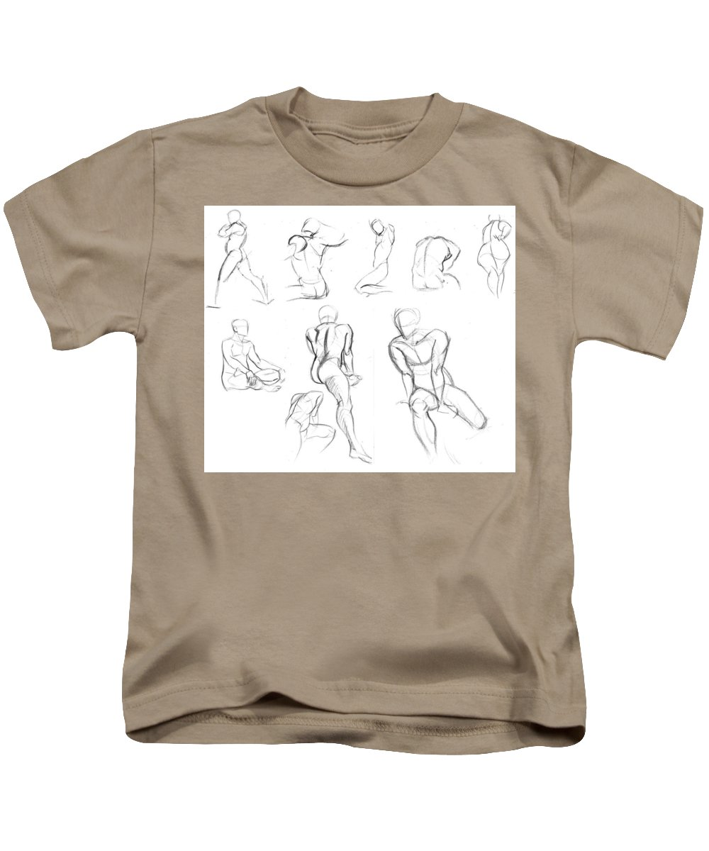Kids T-Shirt featuring the drawing Short Poses by Unknown