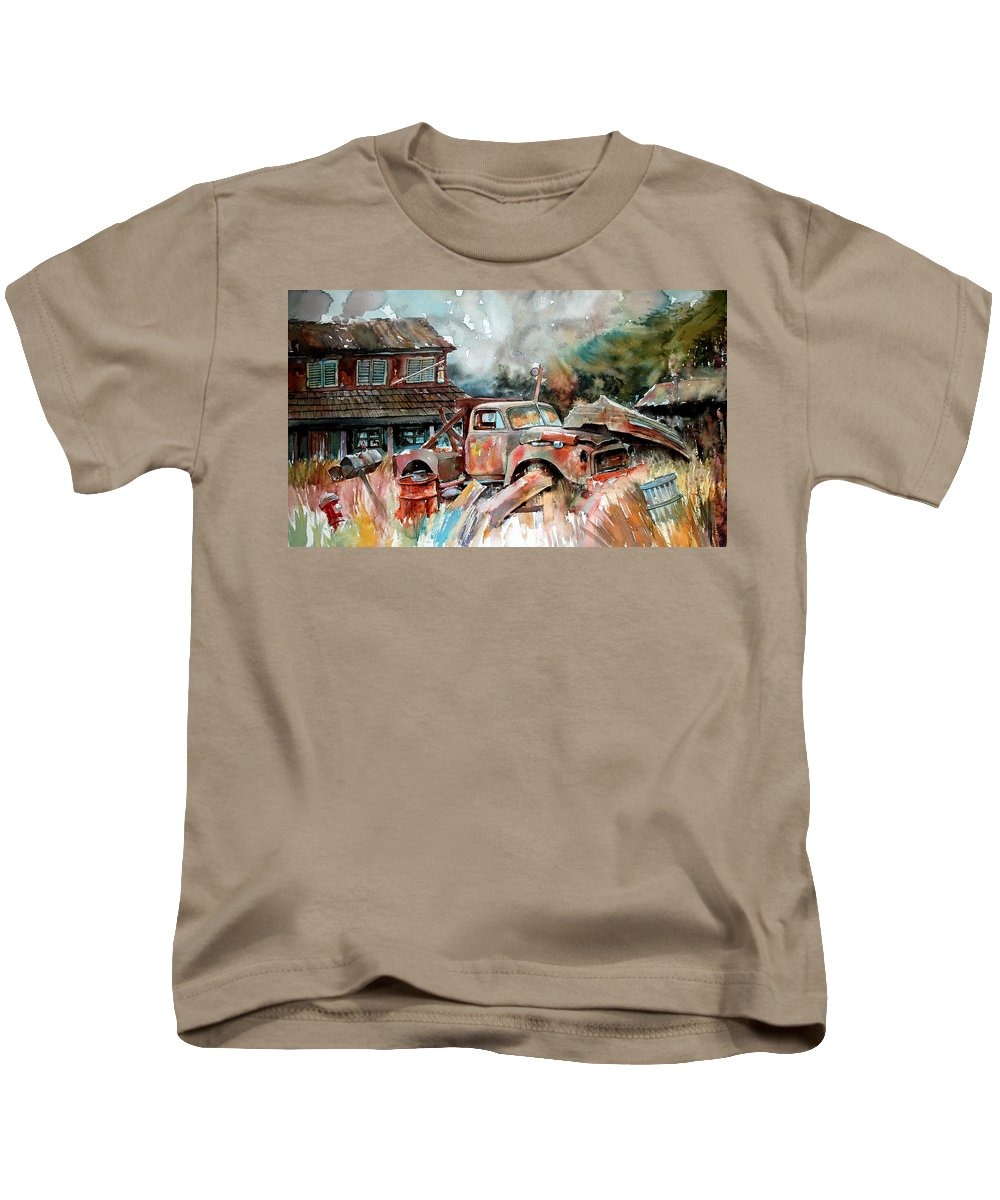 Truck Kids T-Shirt featuring the painting Shuttered And Cluttered And Gone by Ron Morrison
