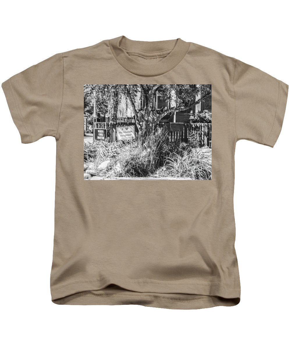 Black Lives Matter Kids T-Shirt featuring the photograph Signs On A Minneapolis Yard by Curtis Tilleraas