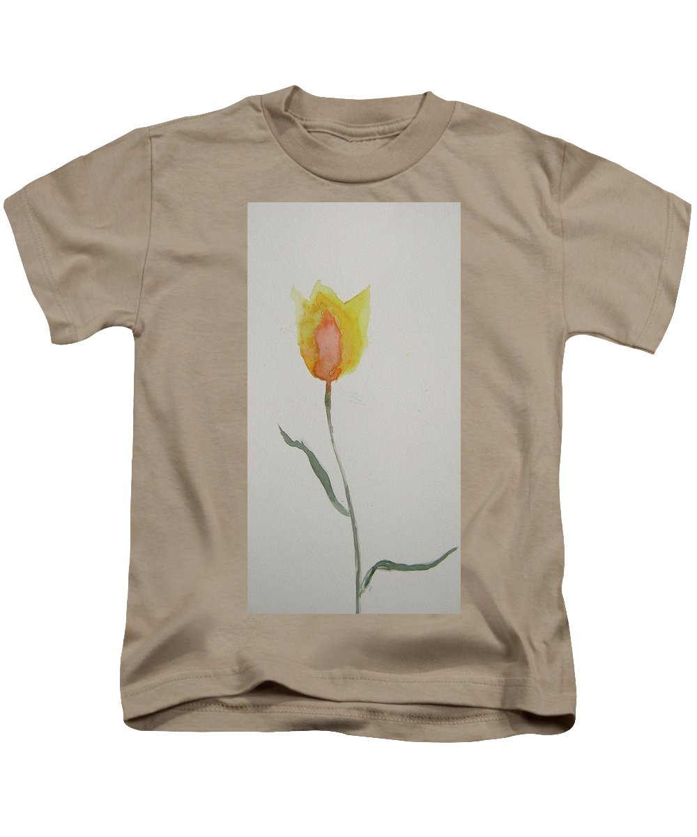 Tulip Kids T-Shirt featuring the painting Simplest Tulip by Beverley Harper Tinsley