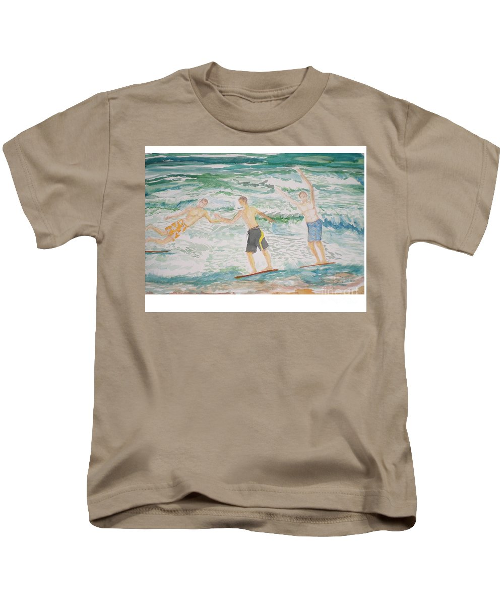 Seascape Kids T-Shirt featuring the painting Skim Boarding Daytona Beach by Hal Newhouser