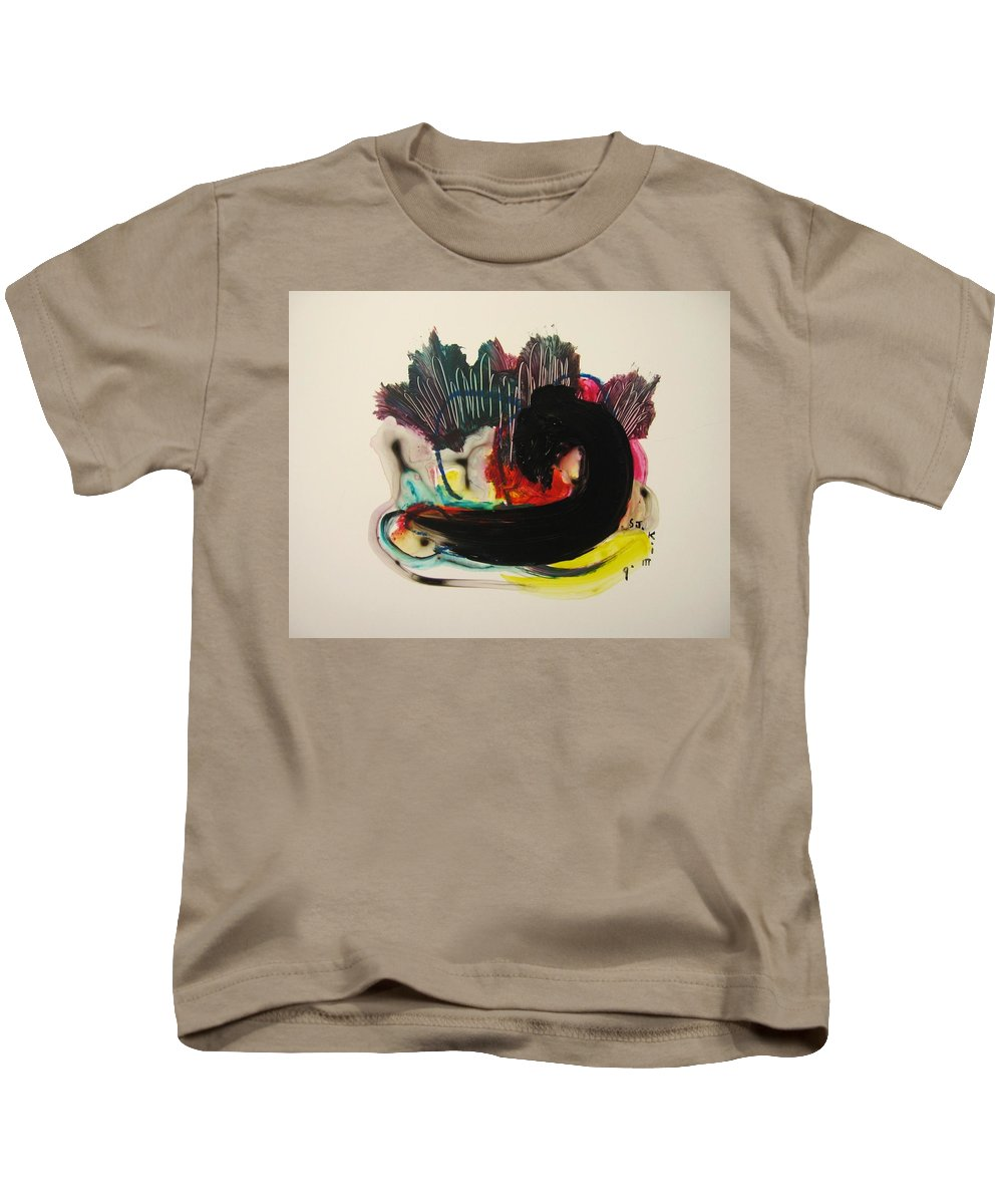 Red Yellow Paintings Kids T-Shirt featuring the painting Small Landscape 69 by Seon-Jeong Kim