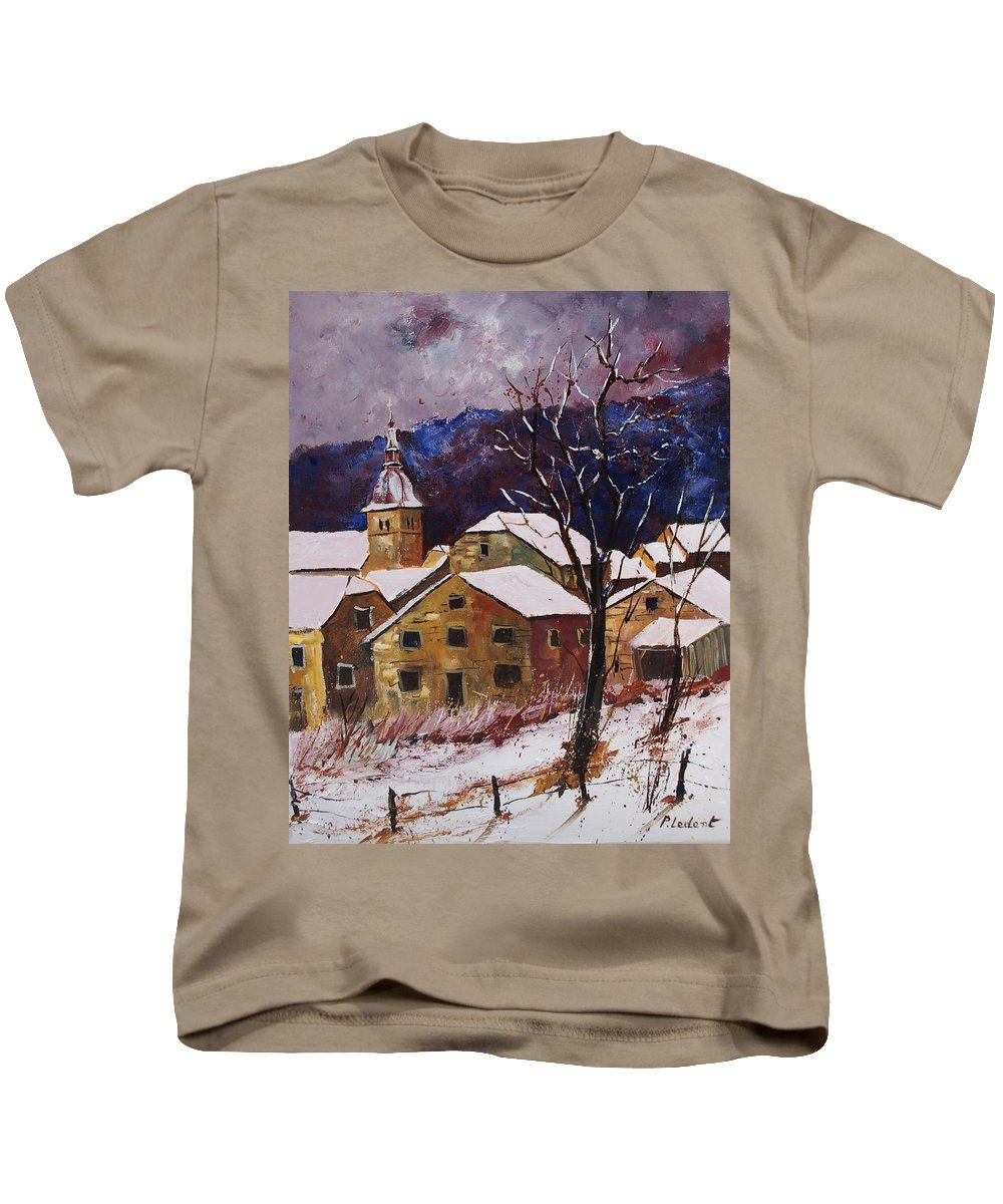 Landscape Kids T-Shirt featuring the painting Snow In Chassepierre by Pol Ledent