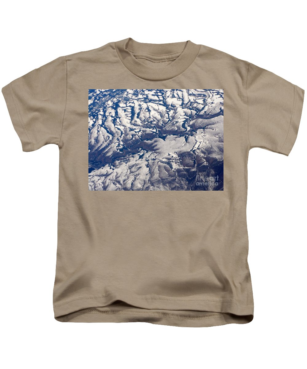 Aerial Kids T-Shirt featuring the photograph Snowy Landscape Aerial by Carol Groenen