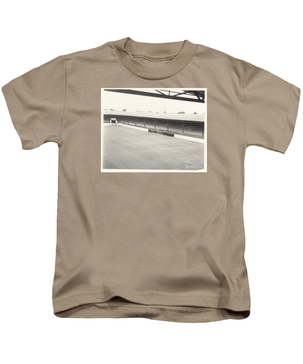 Kids T-Shirt featuring the photograph Southport Fc - Haig Avenue - Scarisbrick End 2 - Bw - Early 60s by Legendary Football Grounds