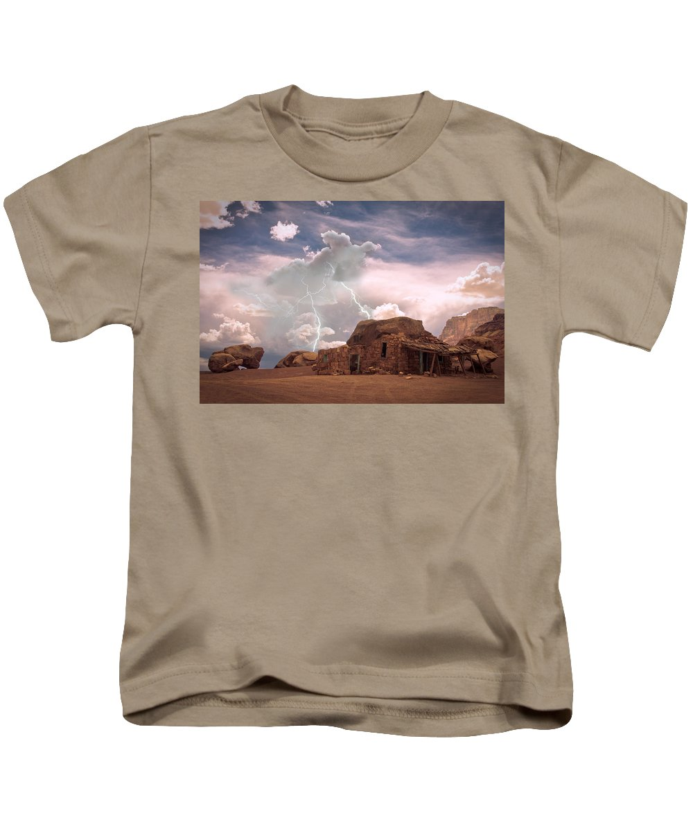 Lightning Strikes; Lightning; Nature; Landscapes; Southwest Desert; Rustic; Thunderstorms; Fine Art Kids T-Shirt featuring the photograph Southwest Navajo Rock House And Lightning Strikes by James BO Insogna