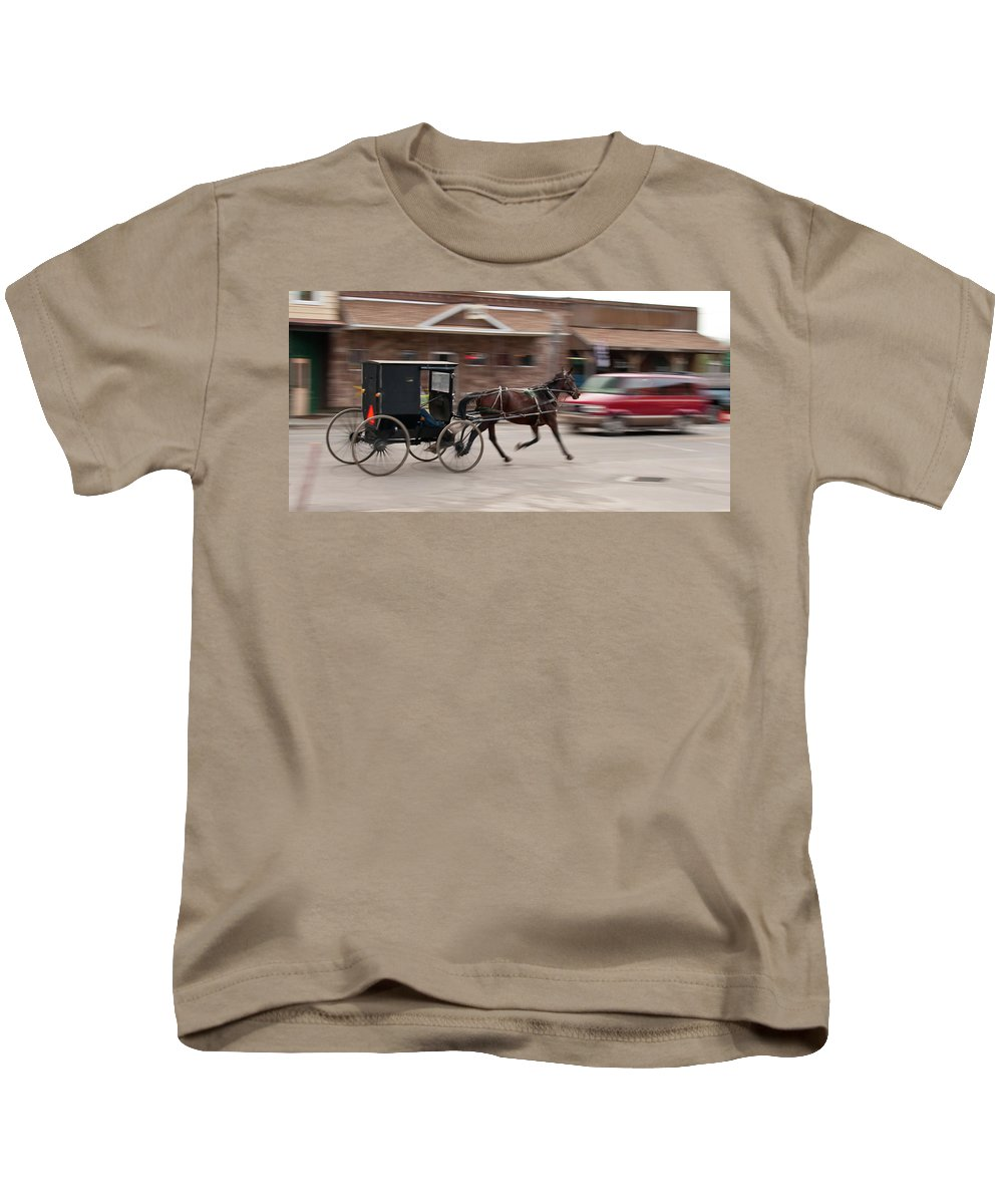 Horse Kids T-Shirt featuring the photograph Speeding 3271 by Guy Whiteley