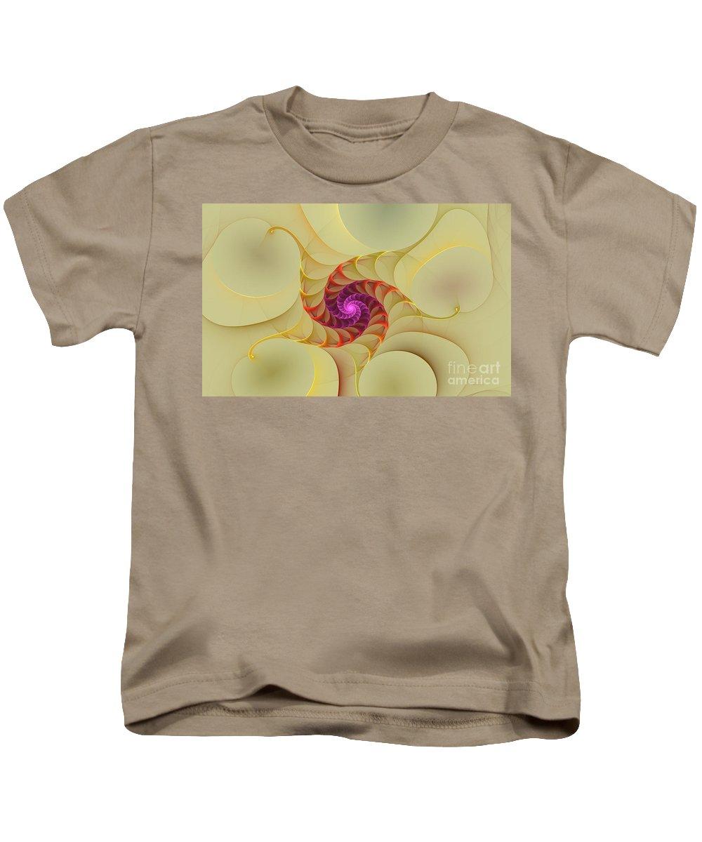 Digital Kids T-Shirt featuring the digital art Spiral Rainbow Of Color by Deborah Benoit