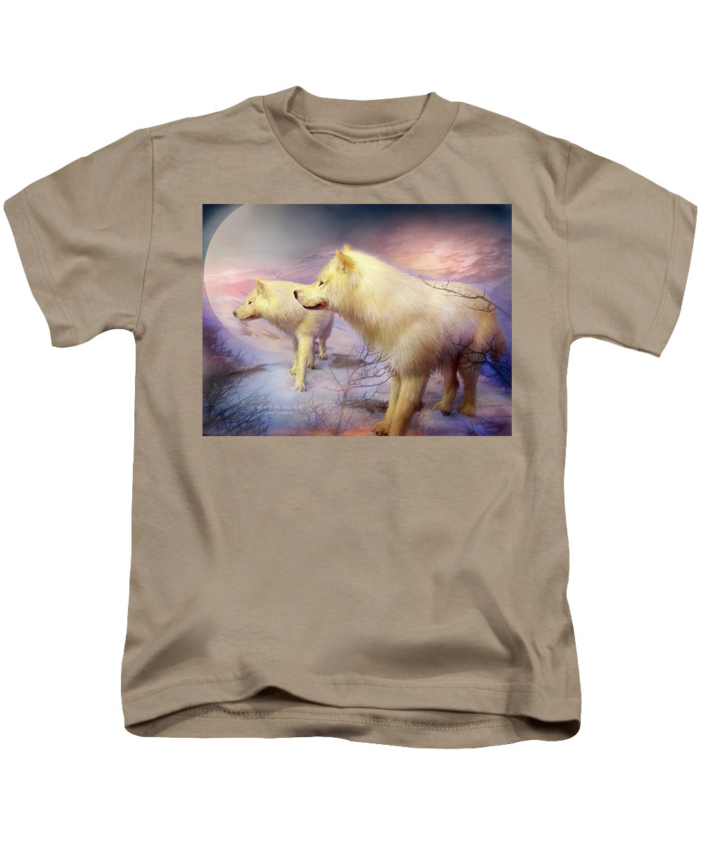 White Wolf Kids T-Shirt featuring the mixed media Spirit Of The White Wolf by Carol Cavalaris