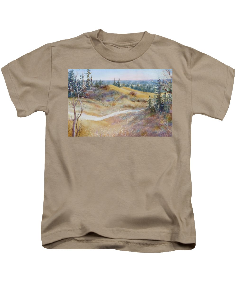 Landscape Kids T-Shirt featuring the painting Spirit Sands by Ruth Kamenev