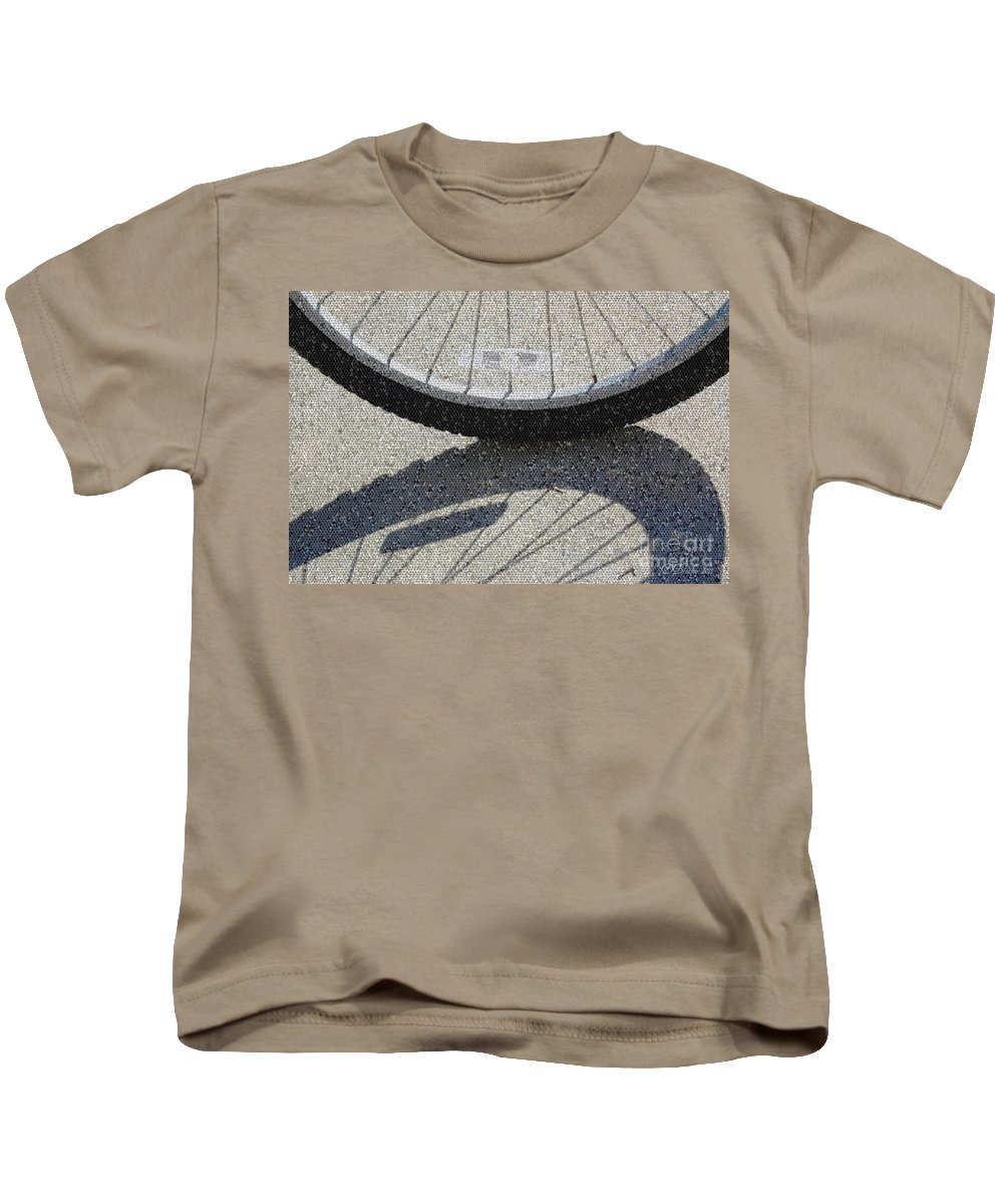 Bike Kids T-Shirt featuring the photograph Spokes Mosaic by Donna Bentley