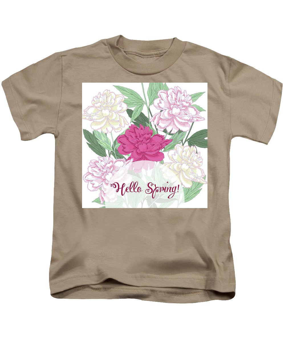 Peony Kids T-Shirt featuring the digital art Spring Background With White And Pink Peony by Natalia Piacheva