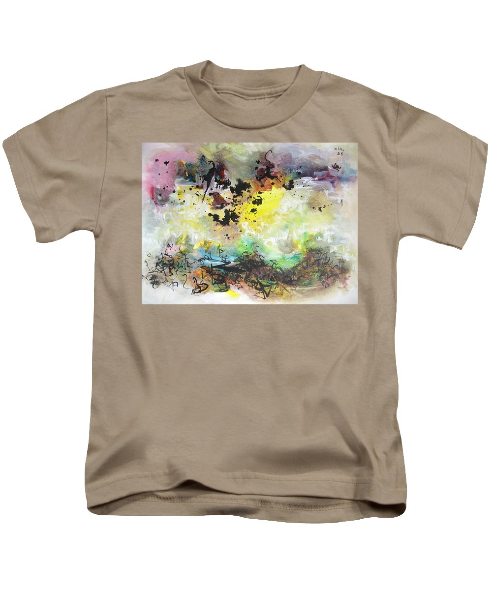 Yellow Purple Paintings Kids T-Shirt featuring the painting Spring Fever19 by Seon-Jeong Kim