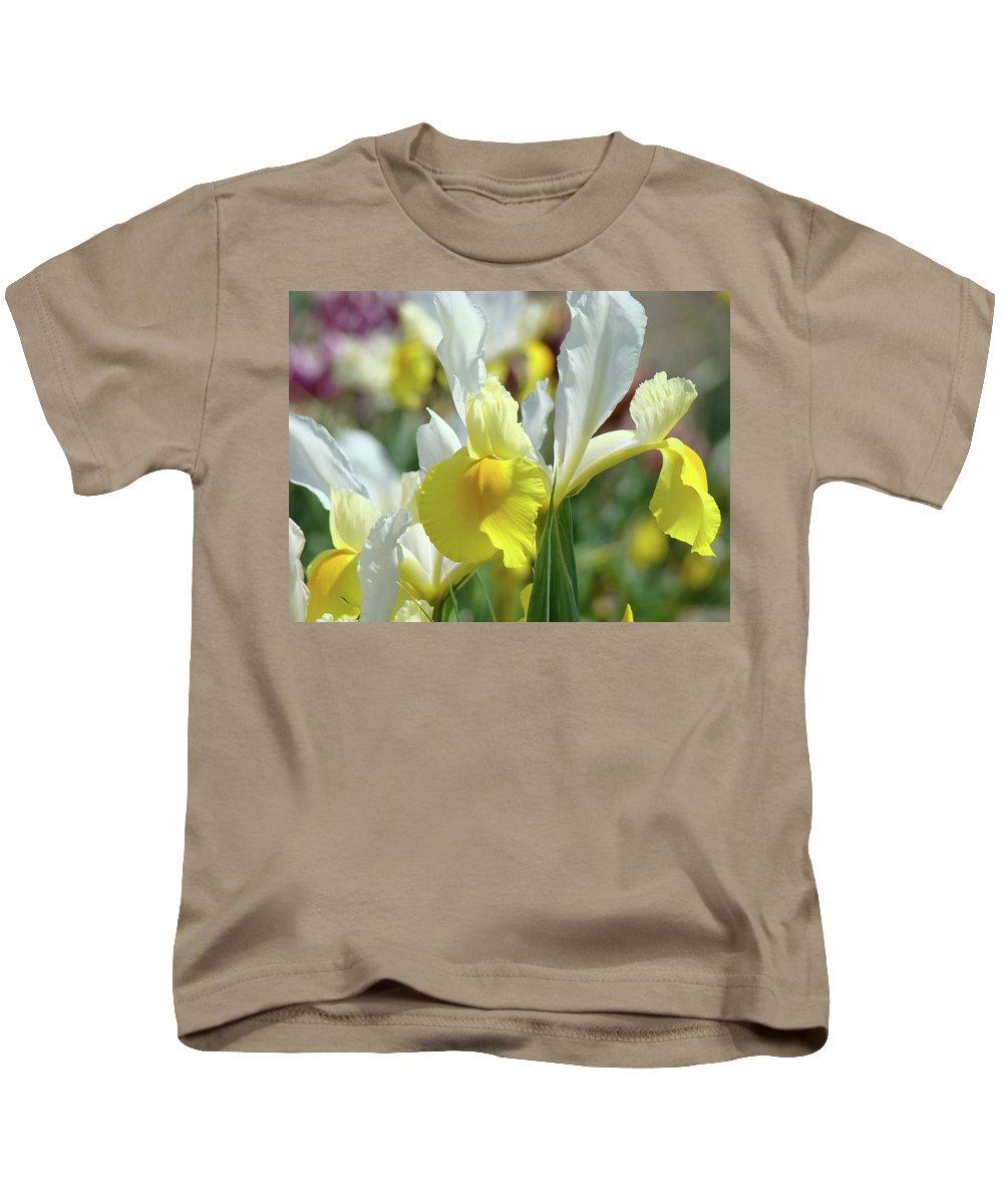 Iris Kids T-Shirt featuring the photograph Spring Irises Flowers Art Prints Canvas Yellow White Iris Flowers by Baslee Troutman